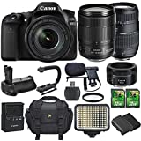 Canon EOS 80D 24.2MP DSLR with Canon EF-S 18-135mm f/3.5-5.6 IS USM Lens + Canon 50mm 1.8 STM + Tamron 70-300mm + Extra Battery + 2 pc 32GB SD Cards + Battery Grip + Video Light + Mic + U Bracket