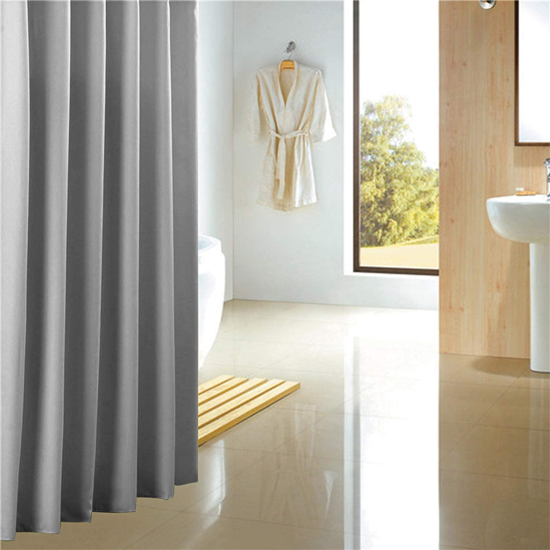 Duschvorhang aus Polyester Anti-Bakteriell,Wasserdichtes Design Uni Grey CLOFY Duschvorh/änge Beige 180 x 180 cm mit 12 Duschvorhangringen Anti-Schimmel