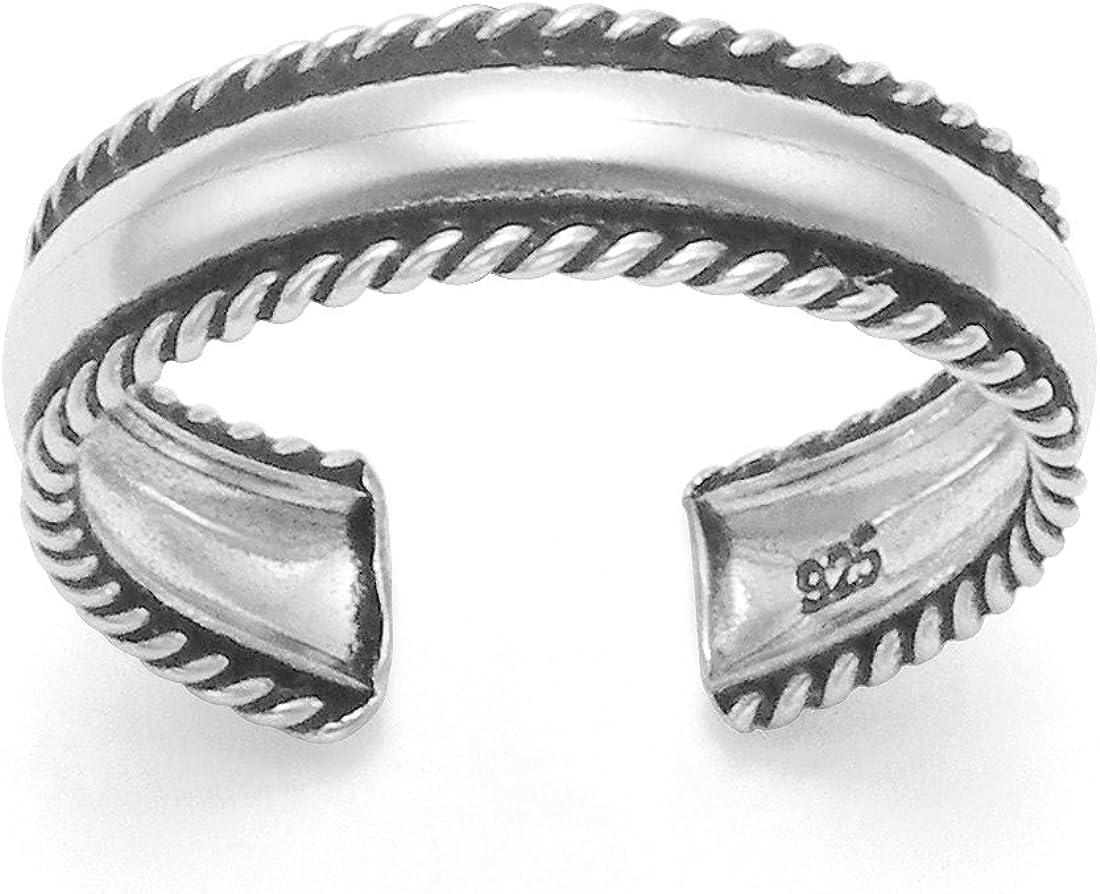 Anillo liso de plata fina para dedo del pie con bordes de cuerda, tamaño ajustable, en caja de regalo 0986.