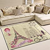 Naanle Valentine's Day Area Rug 5'x7', Romatic Paris Love Polyester Area Rug Mat for Living Dining Dorm Room Bedroom Home Decorative
