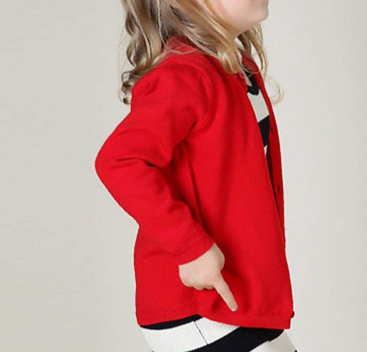 89fe1dca5 Dutebare Baby Girls Long Sleeve Cardigans Toddler Crewneck Button ...