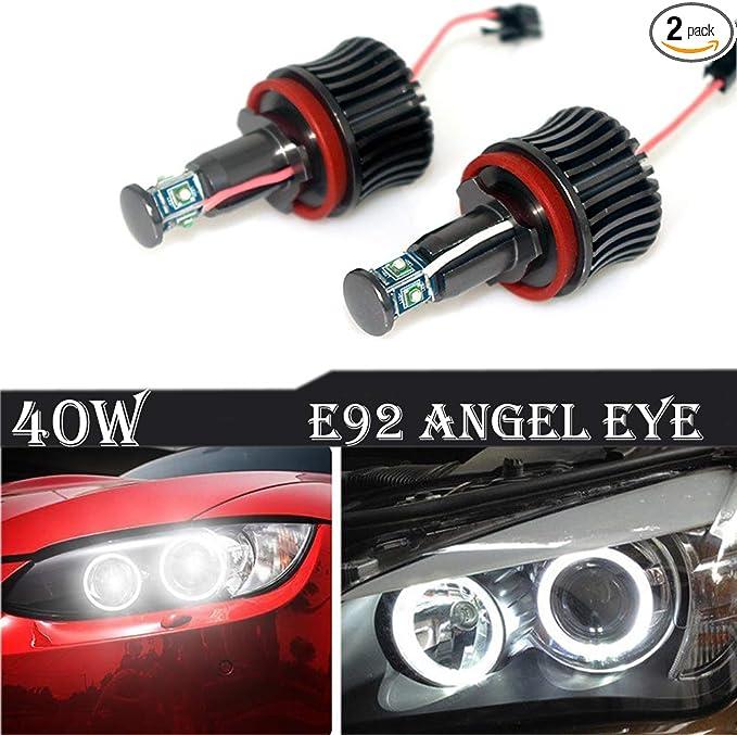 for 09-11 BMW E90 E91 LCI CREE LED Angel Eyes Halo Ring Bulbs 40W Total No Error