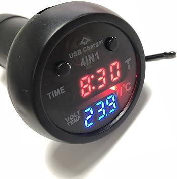 Amazon.es: PolarLander 4 en 1 Coche Tipo de Encendedor de Coche Multifunción Displayer Car Digital Reloj electrónico Termómetro Voltaje Meter Puerto USB