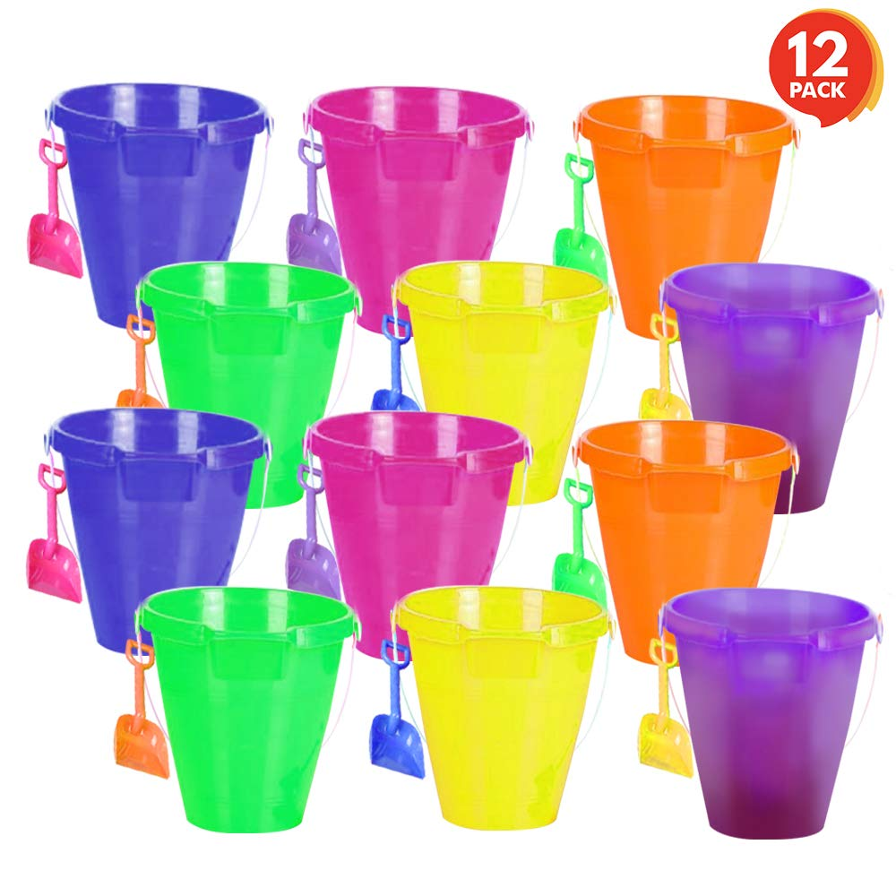 ArtCreativity 9 Inch Large Plastic Beach Pail and Shovel Set - Pack of 12 - Big Assorted Neon Buckets and Shovels - Summer Beach Toys - Practical Gift, Party Favor and Prize