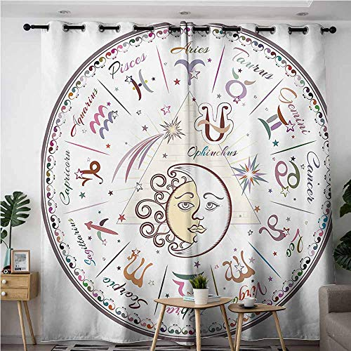 Indoor/Outdoor Curtains,Zodiac,Western Chart with All Signs Aries Virgo Leo Taurus Libra Mystique Fate Calendar,Curtains for Living Room,W108x108L,Multicolor