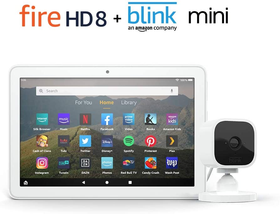 Fire HD 8 Smart Home Bundle including Fire HD 8 Tablet 64 GB Ad-Supported (White) with Blink Mini Camera