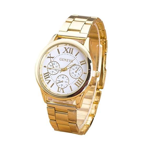 Poto 2017 nueva moda para mujer números romanos acero inoxidable cuarzo reloj de pulsera Casual: Amazon.es: Relojes