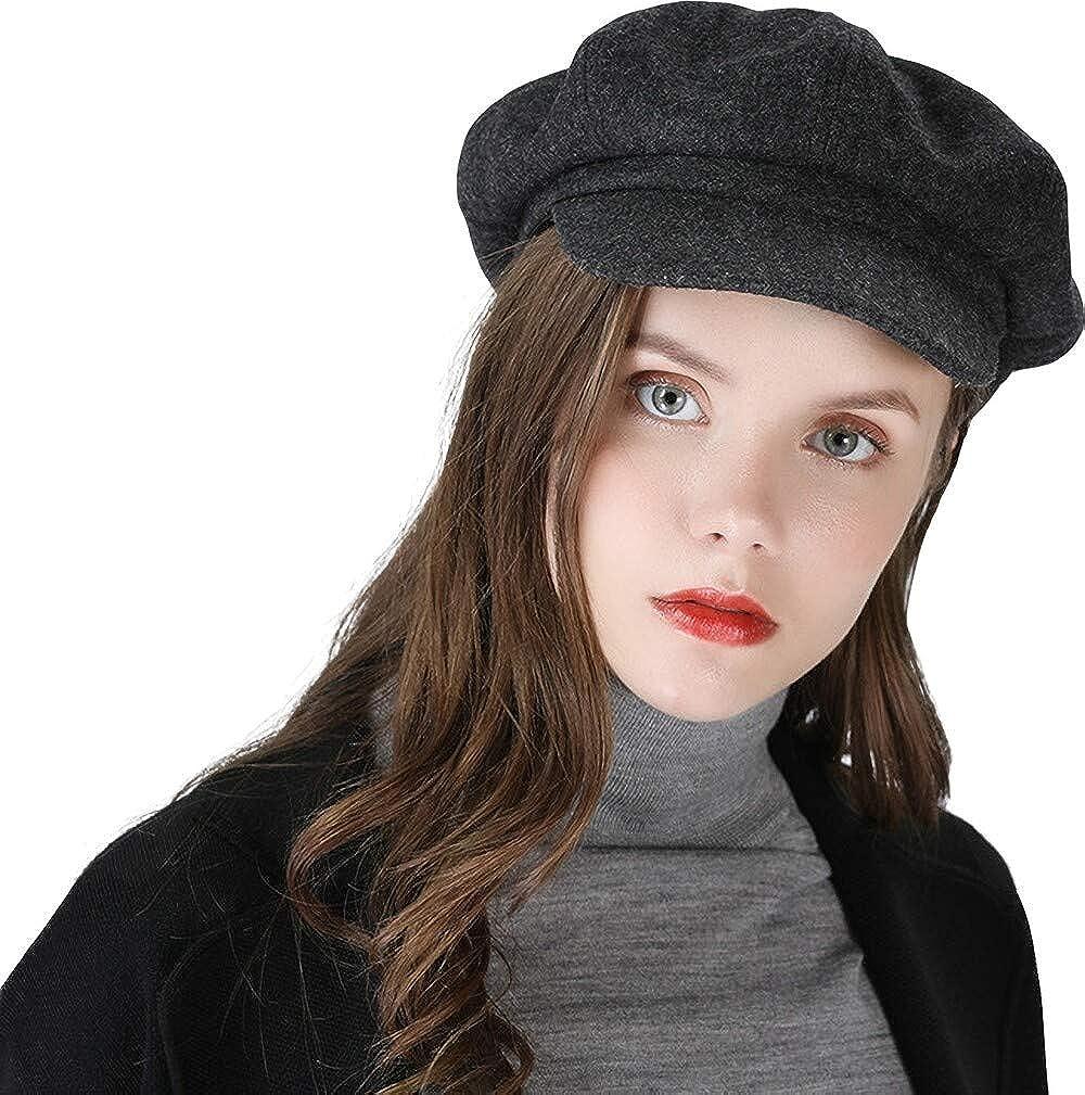 Ambysun Ladies Newsboy Cabbie Beret Cap Bakerboy Visor Peaked Winter Ivy Flat Hat for Women