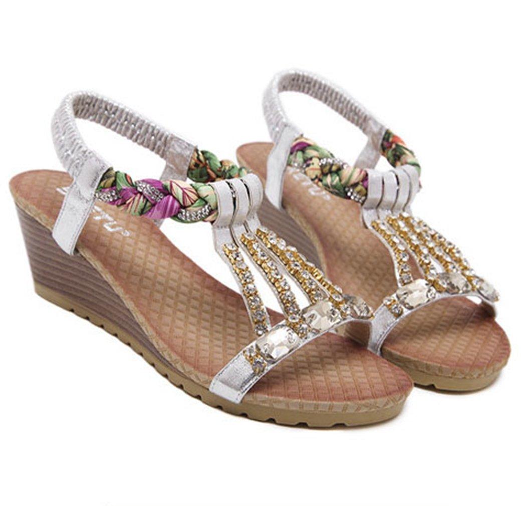 AVENBER Womens Wedge Sandal Platform Glitter Rhinestone Arch Support Bohemia Comfy Dress Shoes B07CKL5HHQ 8 B(M) US|Silver