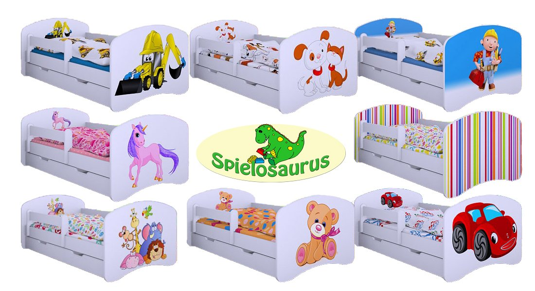 kinderbett bagger verschiedene farben inkl matratze und lattenrost 90 x 180 ebay. Black Bedroom Furniture Sets. Home Design Ideas