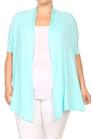 f6acf74c0d43 Casual Loose Fit Short Sleeves Open Front Draped Solid Cardigan Made in USA  Aqua XL