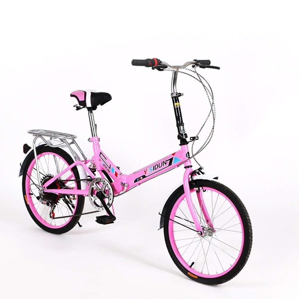 ファッション子供用自転車 163URE 20インチ折りたたみ自転車6スピード自転車男性と女性自転車大人の子供の自転車  ピンク B07RVL54T9