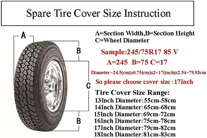 14inch 15 16 17 Copertura del pneumatico della ruota di ricambio Spare Wheel Tire Protector Cover