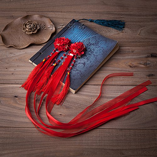 Silk flower hair accessories antiquity ancient hairpin princess hairpin Chinese clothing classical style ribbon tassels step shake court for women girl lady