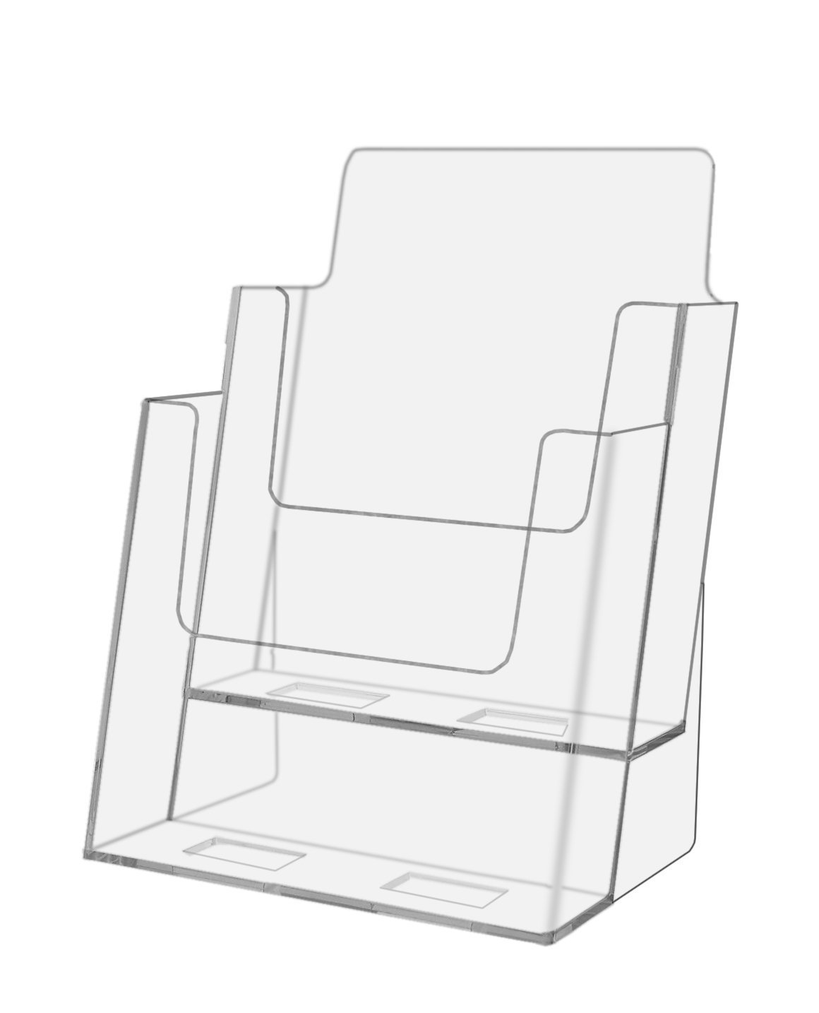 Marketing Holders Clear Acrylic 2 Pocket, Tiered Brochure Holder for 6''w Literature (Clear, 2)