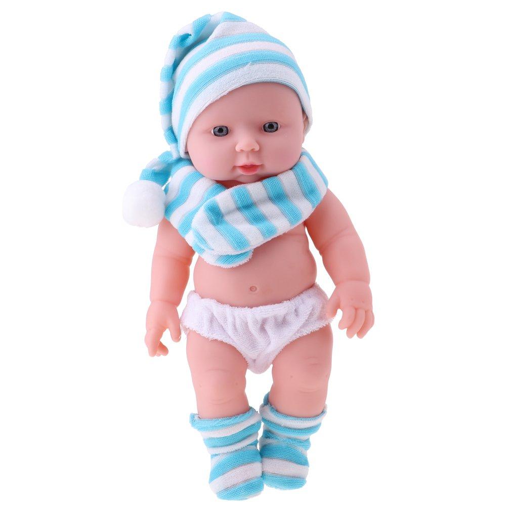 D DOLITY 30cm Lebensecht Silikon Babypuppe Vinyl Baby Mädchen Puppe für Kinder Rollespielzeug oder Training Requisiten - Blau