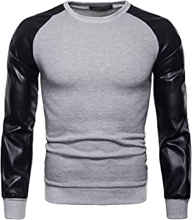 DAZISEN Homme Col Rond Sweat-Shirt - Hommes Automne Hiver Cuir PU Manches Longues Pullover Tops T-Shirt