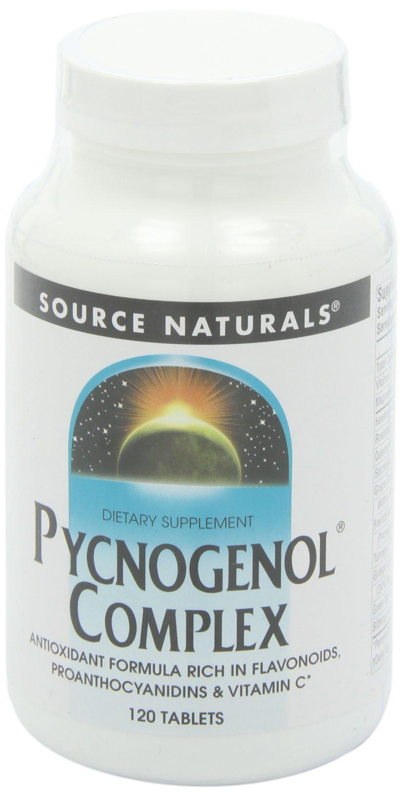 Source Naturals Pycnogenol Complex Antioxidant Formula Rich In Flavonoids, Proanthocyanidins & Vitamin C - 120 Tablets