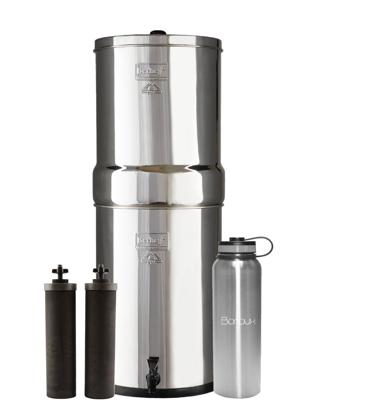 Crown Berkey Water Filter System includes Black filters (6 Gallons) bundled with Boroux 40 oz Stainless Steel Double Wall Bottle