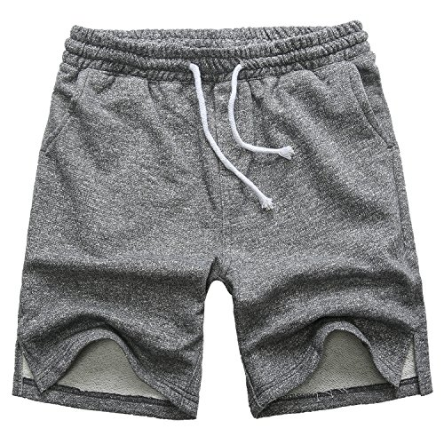 Manwan walk Men's Casual Classic Fit Cotton Elastic Jogger Gym Drawstring Knit Shorts (Medium, Green)