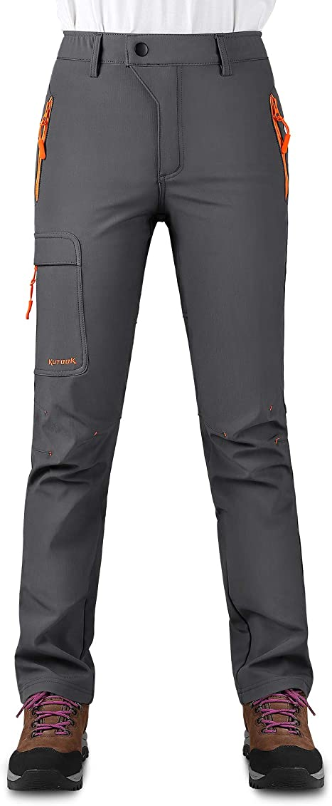 KUTOOK Womens Thermal Softshell Hiking Pants Windproof Polar Fleece Lined Cargo Pants for Winter Outdoor Sports