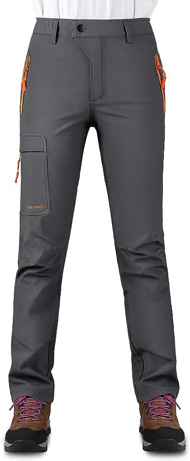 KUTOOK Pantalones Softshell Mujer Invierno Pantalones Deporte Impermeables para Montaña Trekking Senderismo Escalada con Forro Polar(HP311)