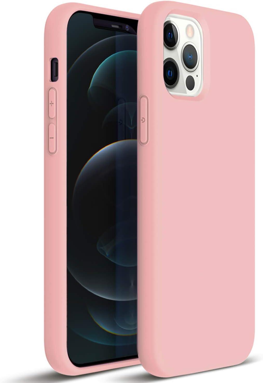 ZUSLAB Compatible con iPhone 12// iPhone 12 Pro Funda Nano Silicona 2020,Cubierta Delgada Case Suave Rosa Fuerte