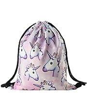 Bluelans® - Sac à dos à cordon en polyester avec motif licorne - Pour filles et femmes - Voyages, école