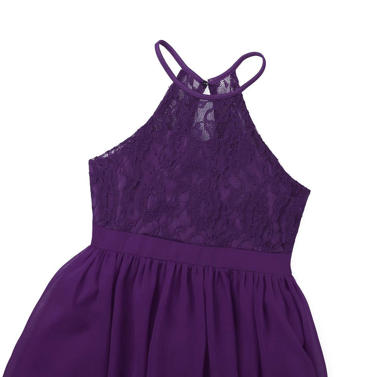 YiZYiF Kids Big Girls Halter Chiffon Lace Wedding Flower Girl Dresses Evening Prom Party Maxi Gown