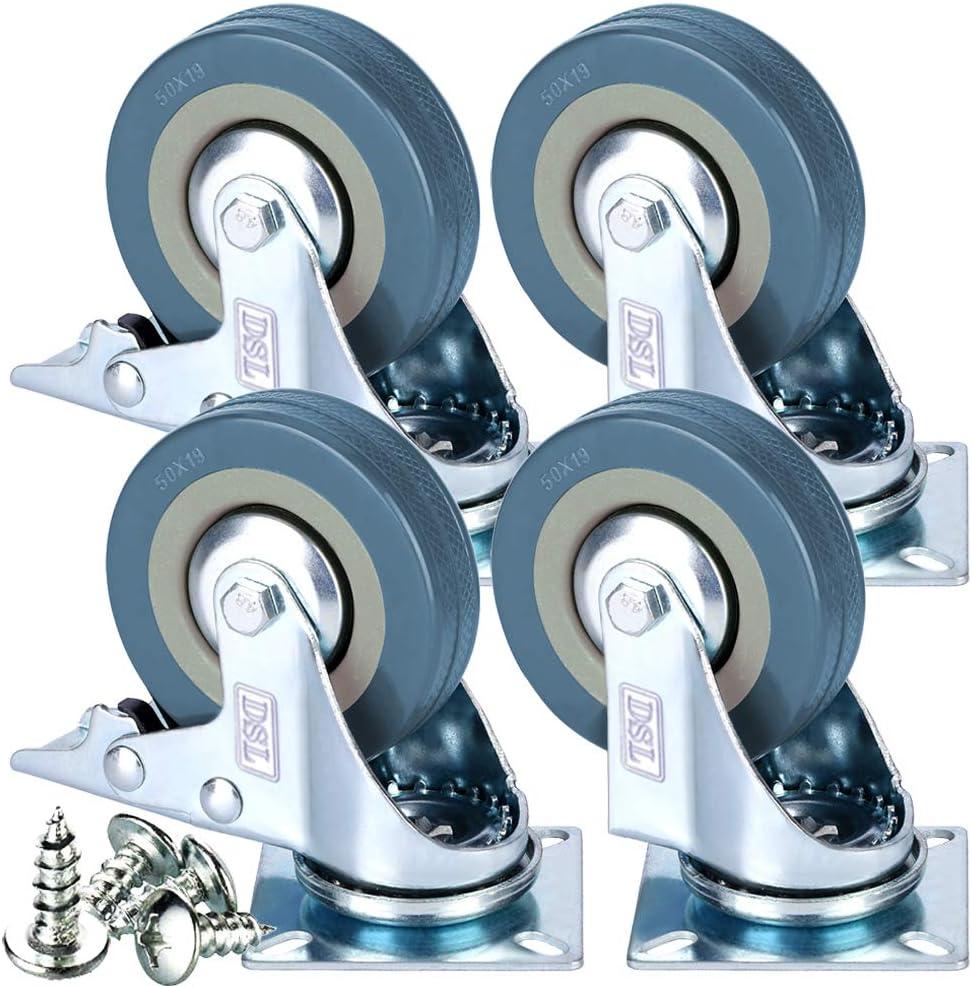 Juego de ruedas giratorias, de goma, de 50 mm, con freno, 200 kg, libre montaje, 4 unidades