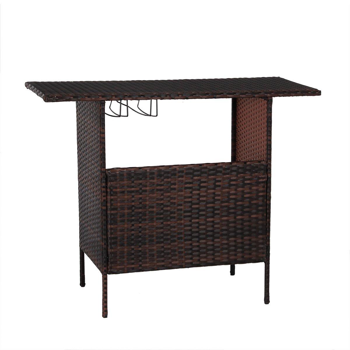 AECOJOY Patio PE Wicker Bar Table Brown Rattan Shelves Counter Garden Outdoor Furniture