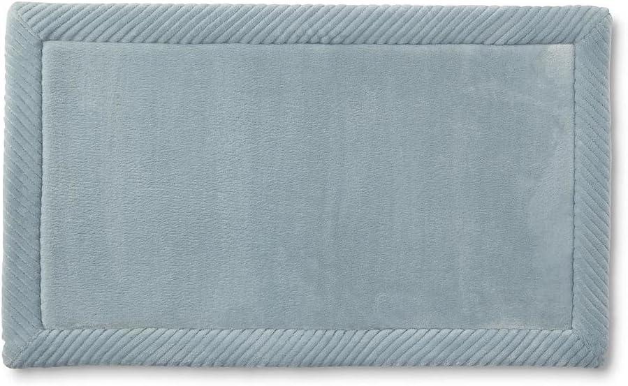 Aqua MICRODRY Habitude Flannel Border Memory Foam Skid-Resistant Bath Mat 16 x 24