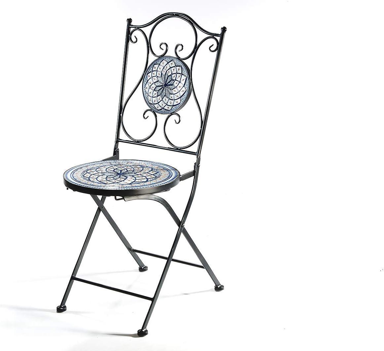 Kobolo Sitzgruppe Gartenm/öbel Mosaikoptik Metall blau-wei/ß 2 St/ühle 1 Tisch