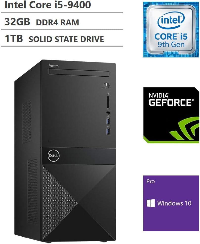 Dell Vostro 3000 Tower Business Desktop, Intel Core i5-9400 Processor up to 4.1GHz, NVIDIA Geforce GTX 1650 4GB GDDR5, 32GB RAM, 1TB Solid State Drive, HDMI, DisplayPort, DVD, Wi-Fi, Windows 10 Pro