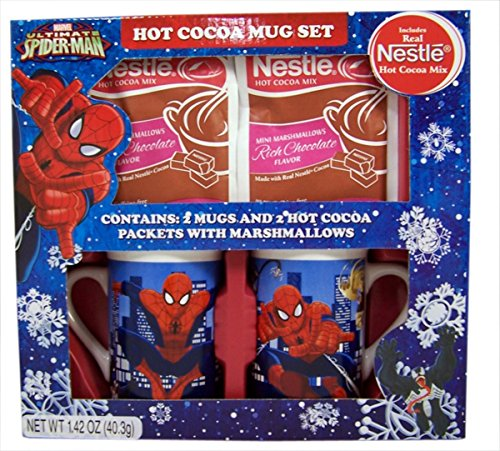 Hot Cocoa Character Mug Holiday Gift Set with Nestle Cocoa Packets (Spiderman)