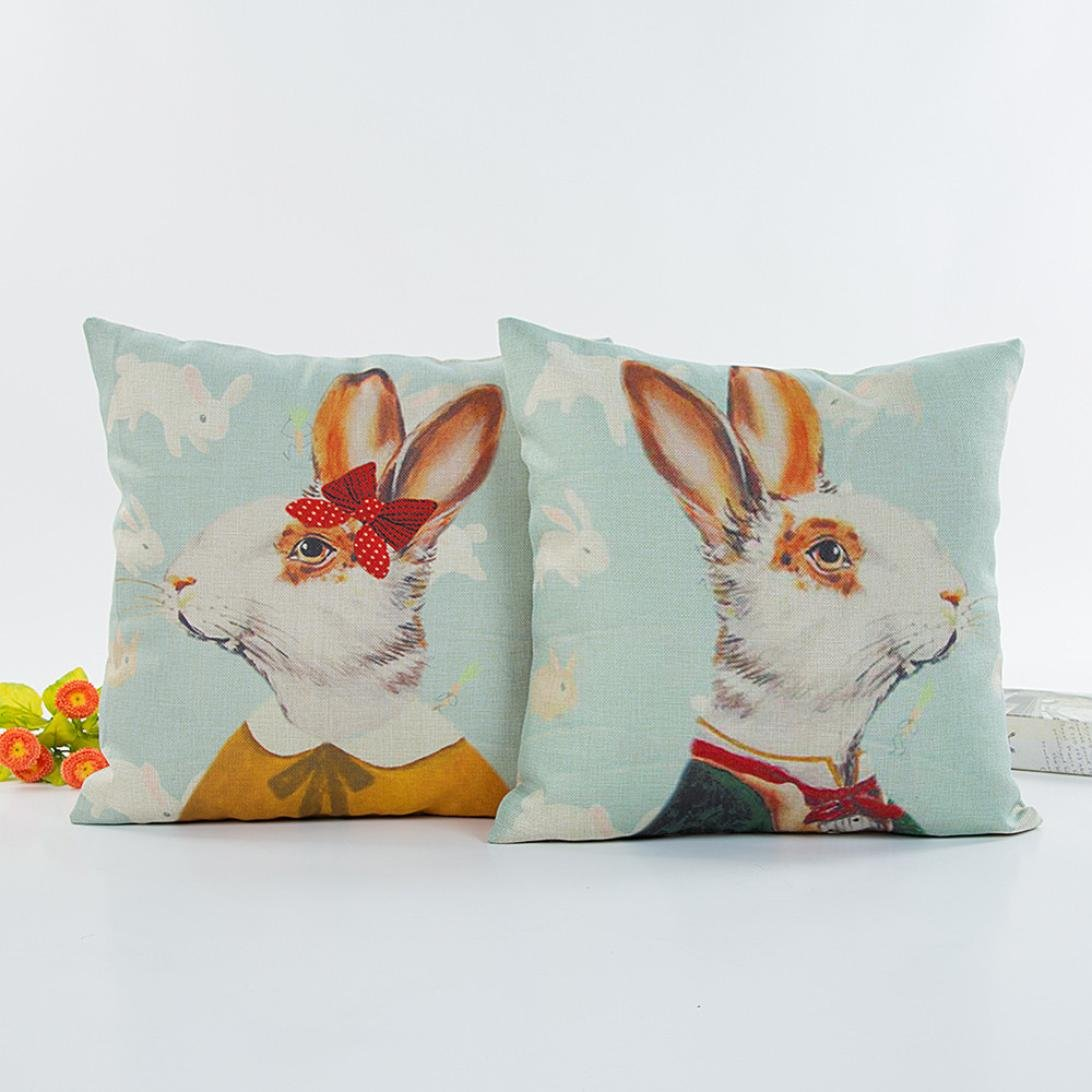 Yukong Valentines Day Male Female Print Pillow Cases Sofa Car Cushion Cover Linen Square Throw Flax Pillowcase Female Rabbits