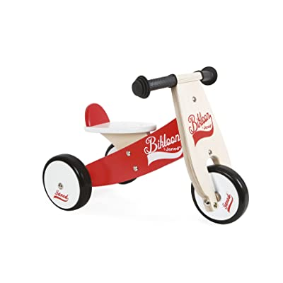 Janod Bikloon Red and White Little Ride On Tricycle: Toys & Games