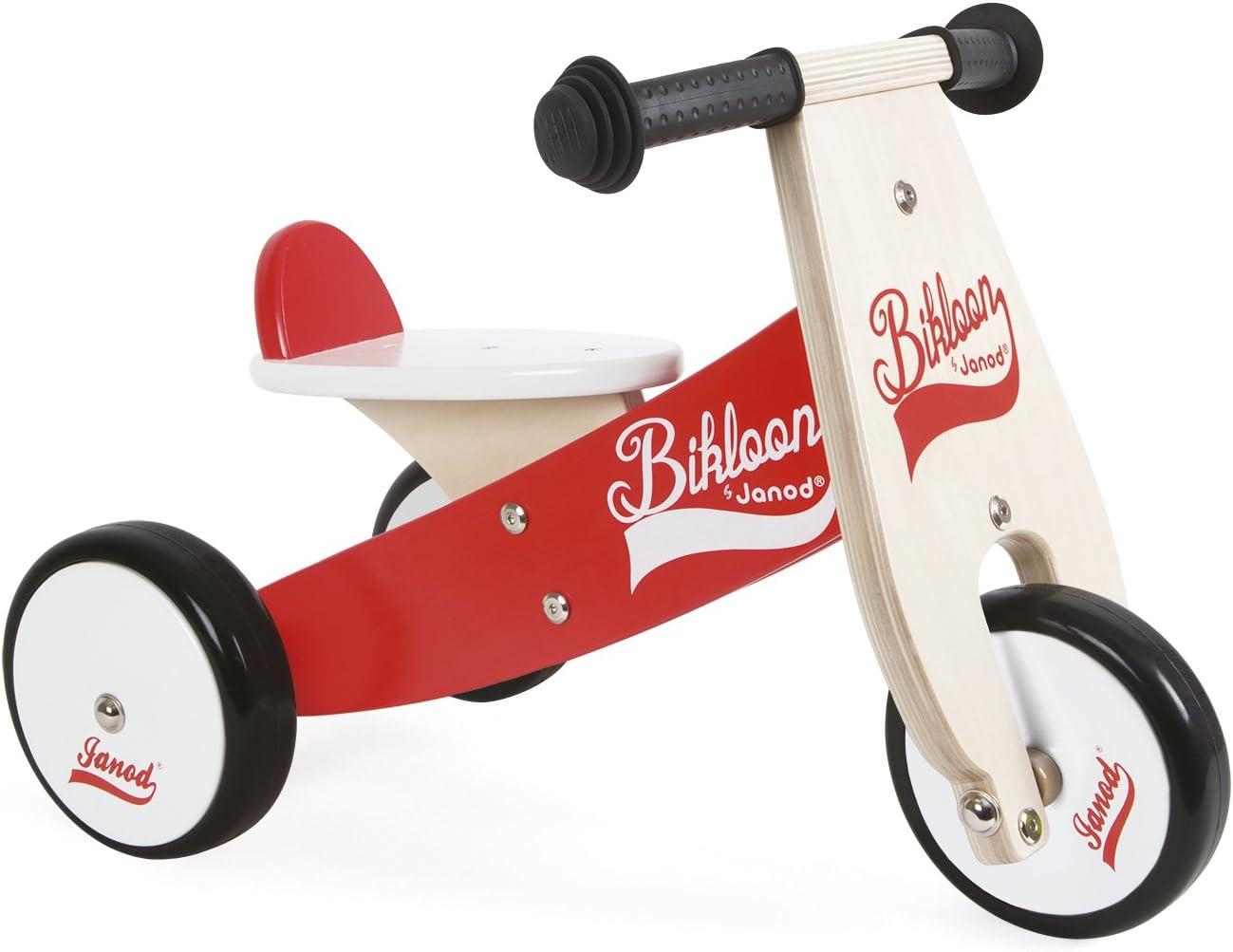Janod - Bicicleta sin pedales Bikloon, madera, color rojo / blanco (J03261)