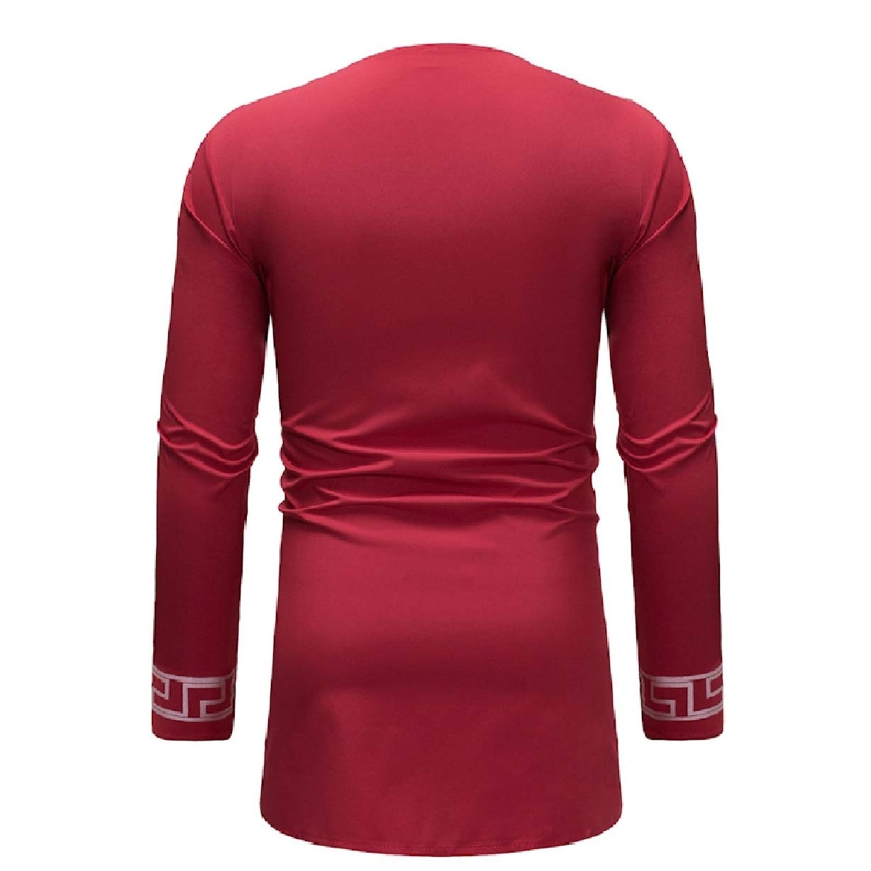 Losait Mens Base African Printed Plus Size Dashiki Long Sleeve Tees Top