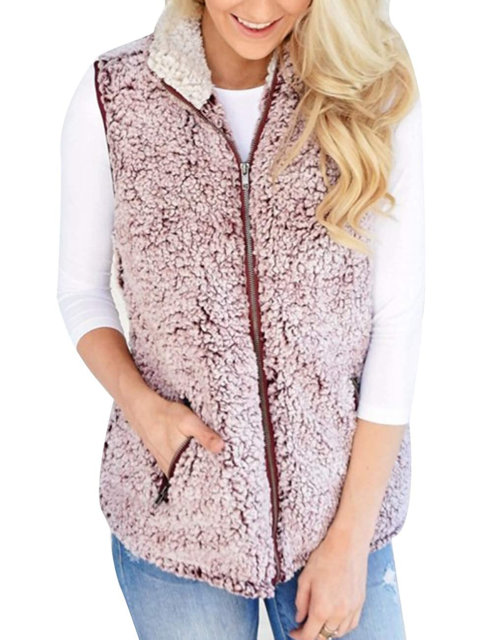 SOMTHRON Women Fuzzy Outdoor Sweater Coat Sleeveless Sherpa Fleece Pocket Vest Jacket