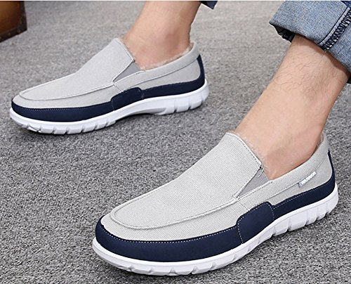 Idifu Heren Casual Lage Slip Op De Winter Instappers Schoenen Namaakbont Gevoerde Canvas Sneakers Lichtgrijs