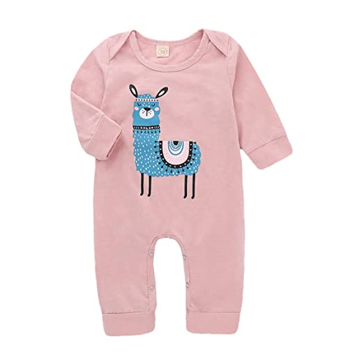 37091297081b9 Amazon.com: Sinhoon n Newborn Baby Girl Alpaca Clothes Cute Long Sleeve  Onesies Sheep Print Romper Home Outfit (Pink, 100/18-24 Months): Clothing