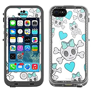 Skin Decal for LifeProof Apple iPhone 5C Case - Cutie Skulls Turquoise on White