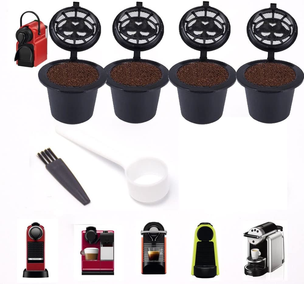 4pcs Capsule Filter Cup Coffee Maker Accessories Filter with Spoon Brush for Nespresso series