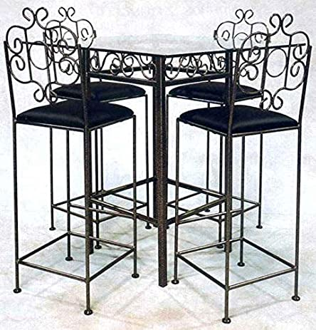 Wrought Iron Pub Table Base - Add Glass Top - Stools Not Included (Gun Metal & Amazon.com: Wrought Iron Pub Table Base - Add Glass Top - Stools Not ...