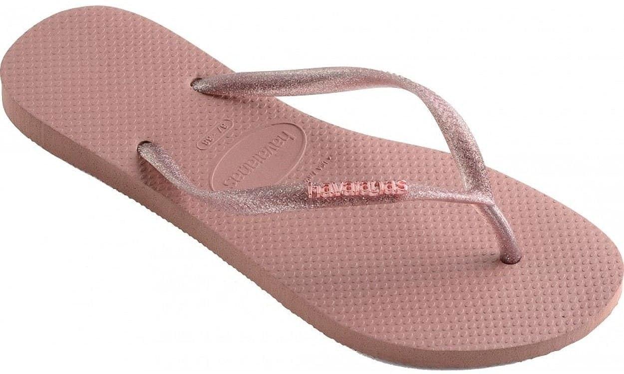 Havaianas Slim Logo Metallic Rose Womens Summer Flip Flops