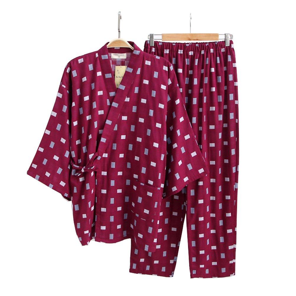 FANCY PUMPKIN Men's Japanese Style Robes Cotton Kimono Pajamas Suit Dressing Gown SetLattice Red