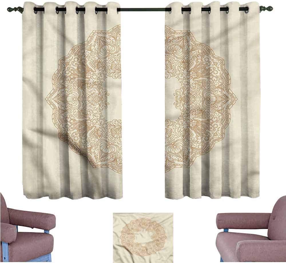 B07SCWLWMK SAMEK Blackout Curtains Panels,Ivory Intricate Round Design Stalks,Insulated with Grommet Curtains for Bedroom,W72x63L 61NqR8L6t0L