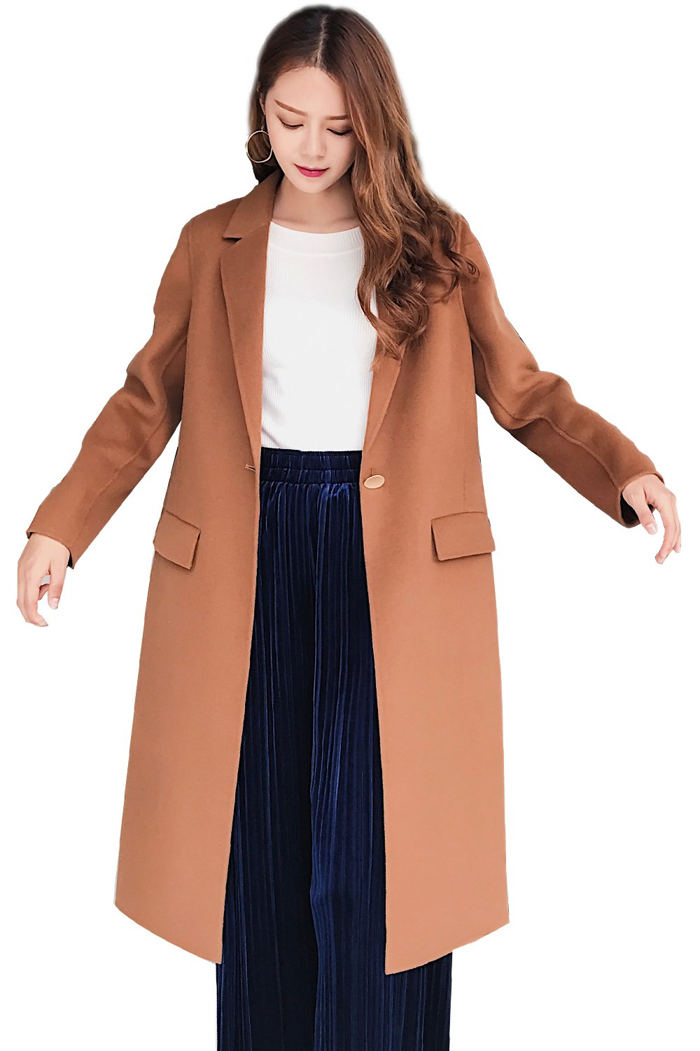 CG Autumn Clothes for Women Wool Coat of Double Sided Wool Classic Camel Fashionable Clothes G0023 (L, Classic Camel)