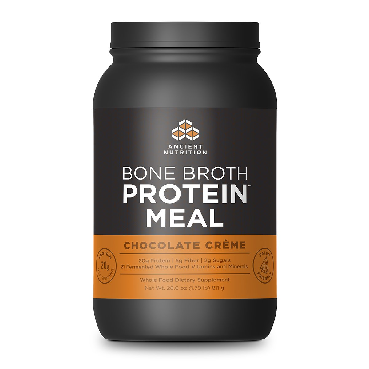 Ancient Nutrition Bone Broth Protein MEAL, Chocolate Crème Flavor, 20 Servings Size - All Natural Meal Replacement Shake with 21 Whole Food Vitamins and Minerals by Ancient Nutrition